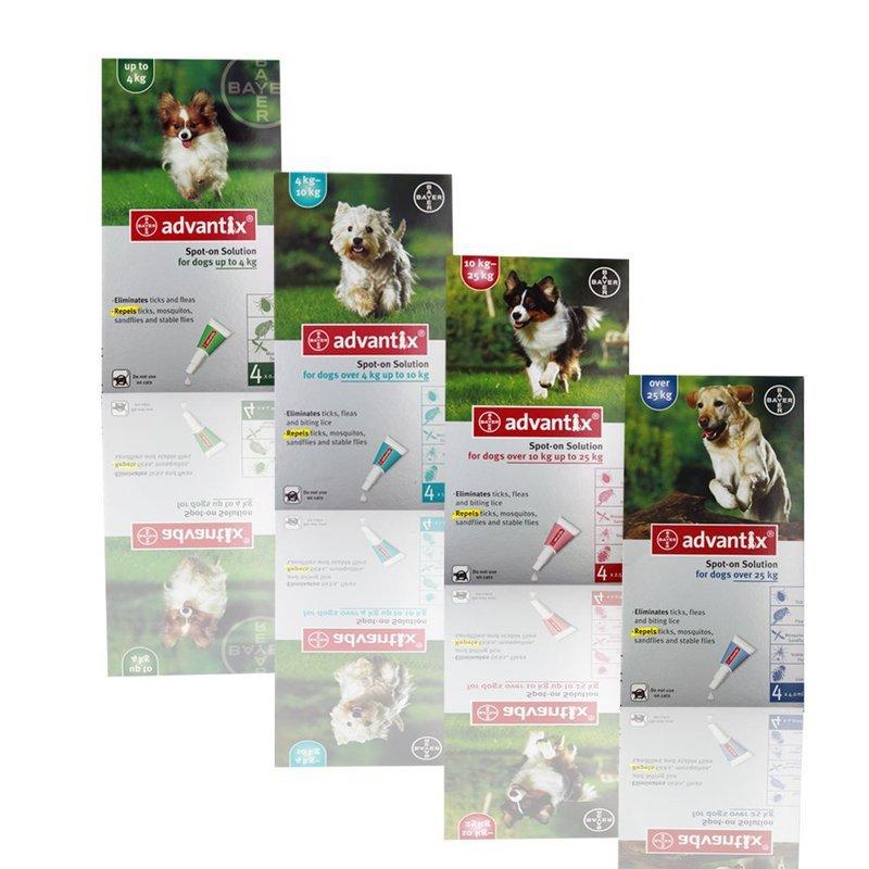 BAYER Advantix- preparat w płynie przeciwko kleszczom i pchłom dla psów, zestaw 4 pipety.