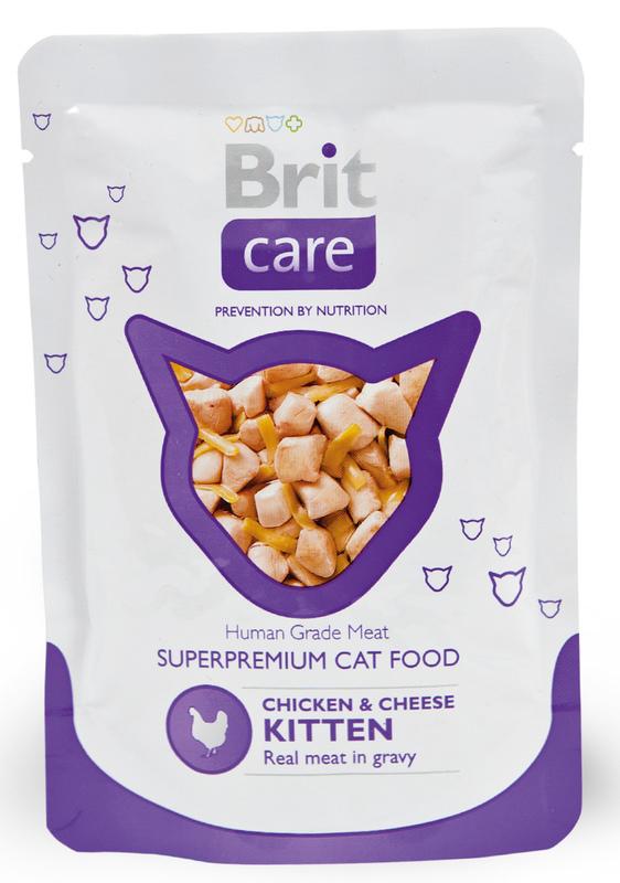 Brit Care Super Premium KITTEN - saszetka o smaku kurczaka z serem dla kociaka 80g