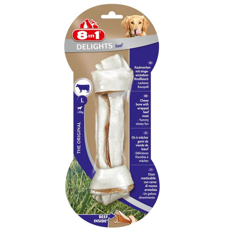 8in1 Delights Bone Beef - kość, smakołyk do żucia z  suszoną wołowiną