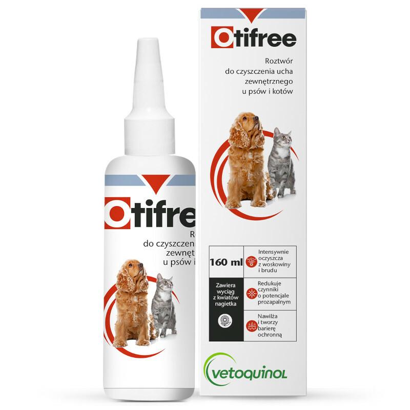 Vetoquinol Otifree roztwór do czyszczenia ucha zewnętrznego u psów i kotów 60ml, 160ml