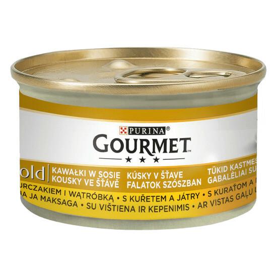Purina Gourmet Gold - kawałki mięsa lub ryby w sosie, puszka 85g