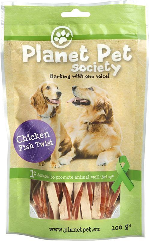 PLANET PET SOCIETY Chicken Fish Twist - przysmaki z dorsza i kurczaka dla psa, 100g