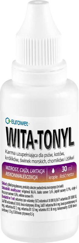 EUROWET Wita-Tonyl - preparat wielowitaminowy dla małych zwierząt, krople 30ml