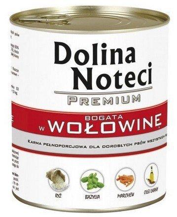 Dolina Noteci Premium Bogata w wołowinę- mokra karma dla dorosłych psów, puszka