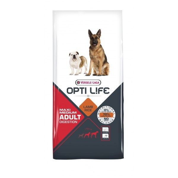 VERSELE LAGA Opti Life Adult Digestion Medium & Maxi - pełnowartościowa karma dla średnich i dużych psów o wrażliwym przewodzie pokarmowym 12,5kg