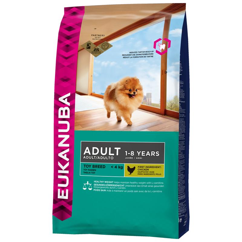 EUKANUBA Toy Breed Adult Chicken - pełnowartościowa karma dla dorosłych psów ras miniaturowych, 800g