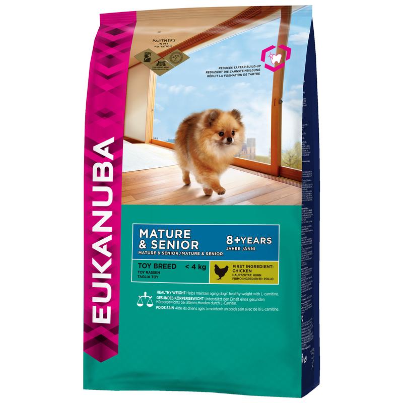 EUKANUBA Toy Breed Mature&Senior Chicken - pełnowartościowa karma dla starszych psów ras miniaturowych, 800g