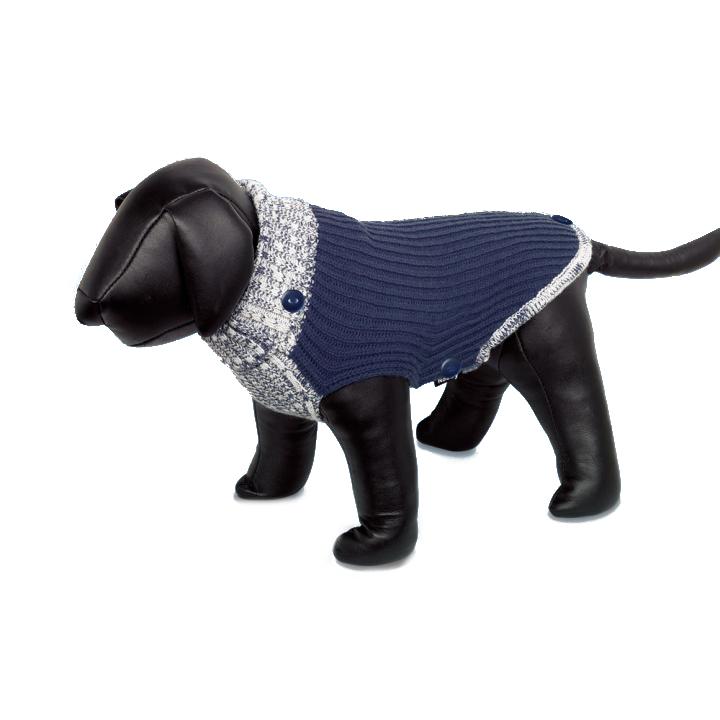 NOBBY Fargo - sweterek z golfikiem i pelerynką przeciwdeszczową dla psa, granatowy/melanż