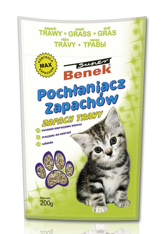 CERTECH BENEK Super Pochłaniacz zapachów do kuwety dla kota, zapach trawy 200g