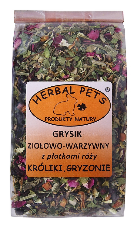HERBAL PETS Grysik ziołowo-warzywny z płatkami róży dla królików i gryzoni, 100g