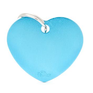 MY FAMILY Heart Light Blue - aluminiowa adresówka dla psa