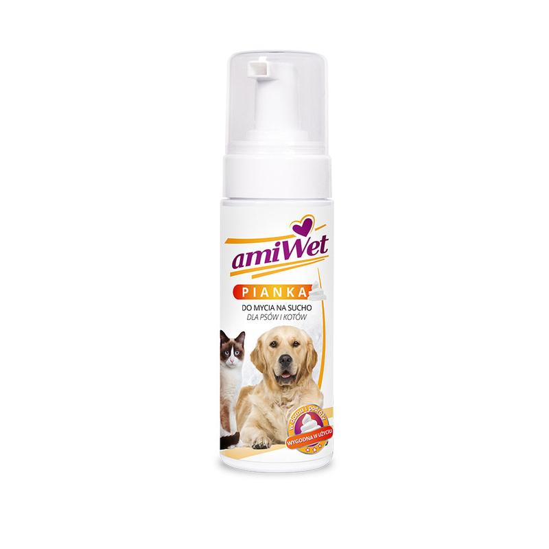 Amiwet szampon piankowy do suchego mycia dla psów i kotów, 150ml