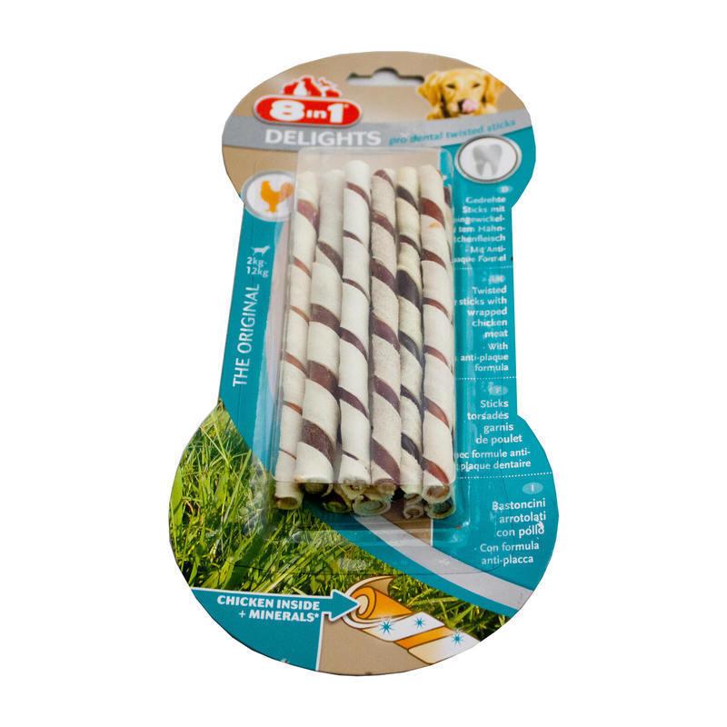 8in1 Pro Dental Twisted Sticks - pałeczki ze skóry dla małych psów