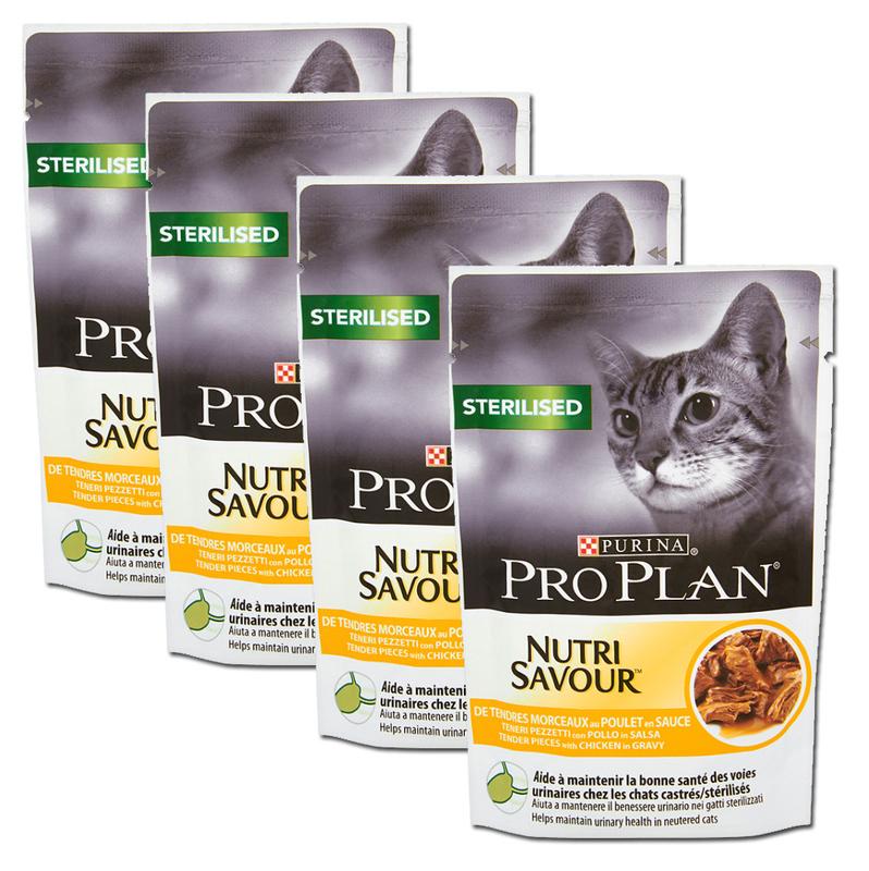 PURINA PRO PLAN Sterilised Nutrisavour Pełnoporcjowa karma dla dorosłych kotów z kurczakiem w sosie, 4 x 85 g