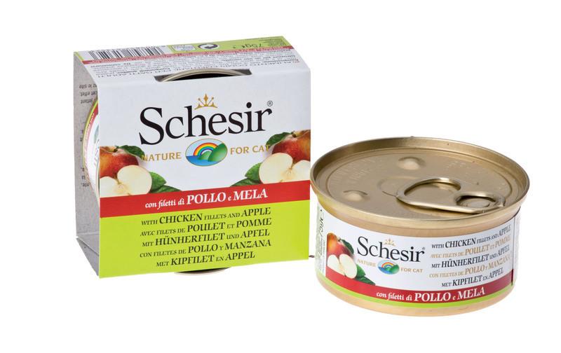 SCHESIR Filety z kurczaka z jabłkiem - 100% naturalna karma dla kotów, puszka 75g
