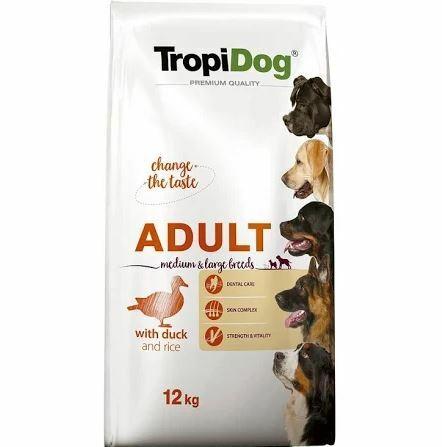 TROPIDOG PREMIUM ADULT MEDIUM & LARGE BREEDS DUCK & RICE - karma dla dorosłych psów średnich i dużych ras, kaczka z ryżem