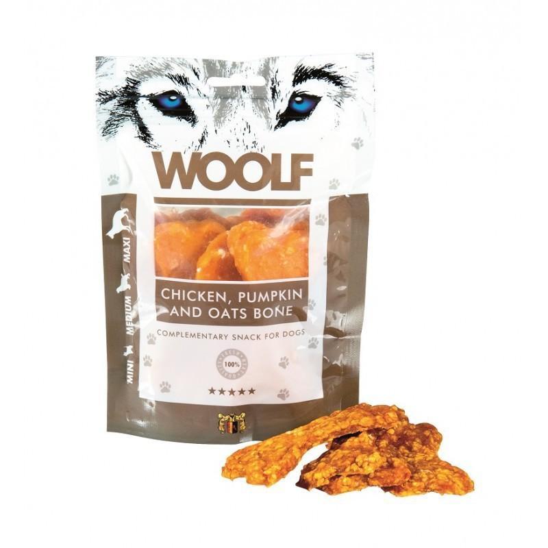 Woolf Large Chicken, Pumpkin and Oats Bone - przysmak dla psów z kurczakiem, dynią i owsem w 100% naturalny, 100g