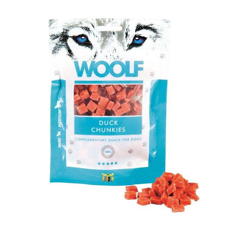 WOOLF DUCK CHUNKIES - przysmak dla psów z kaczką w 100% naturalny, 100g