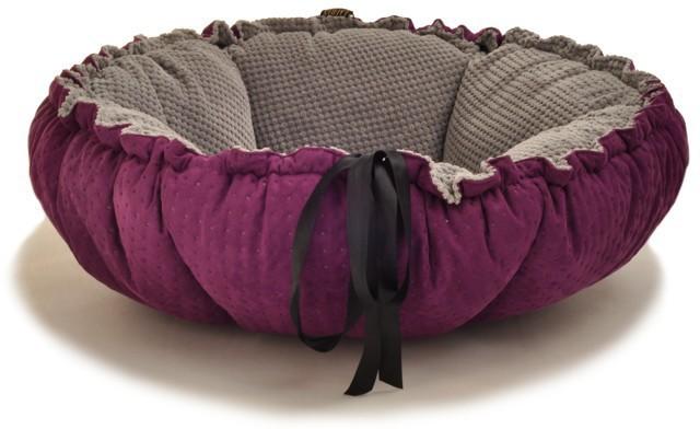 LAUREN - DAISY - Legowisko dla psa lub kota, szaro-fioletowy, średnica 65cm