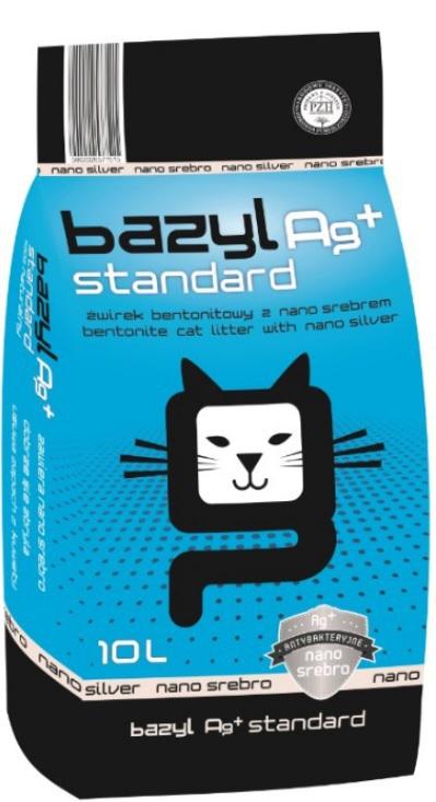 BAZYL Standard Ag+ - żwirek z jonami srebra, zbrylający 10l
