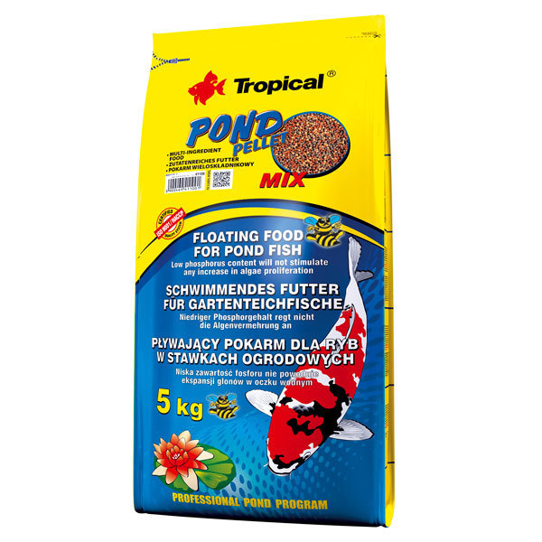 TROPICAL POND PELLET MIX - wieloskładnikowy pokarm w formie pływającego pelletu w worku 5kg