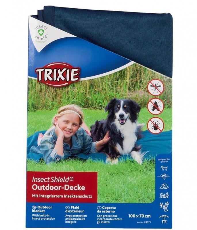 TRIXIE Koc piknikowy Insect Shield - koc odstraszający owady, kolor niebieski