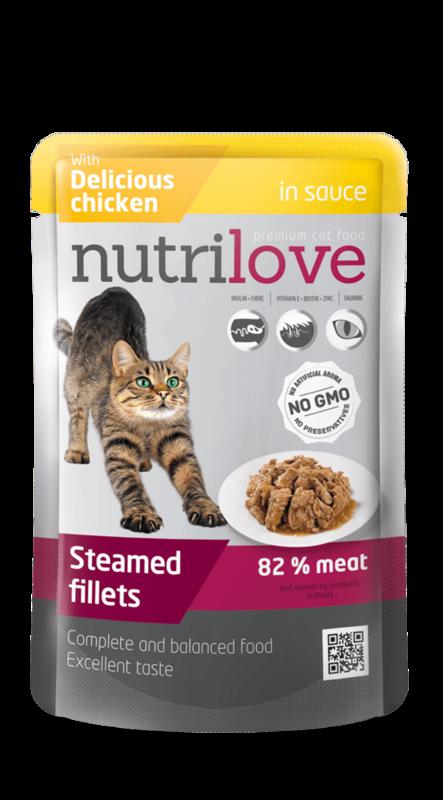 NUTRILOVE mięsne fileciki - gotowane na parze fileciki w sosie dla kota 85g