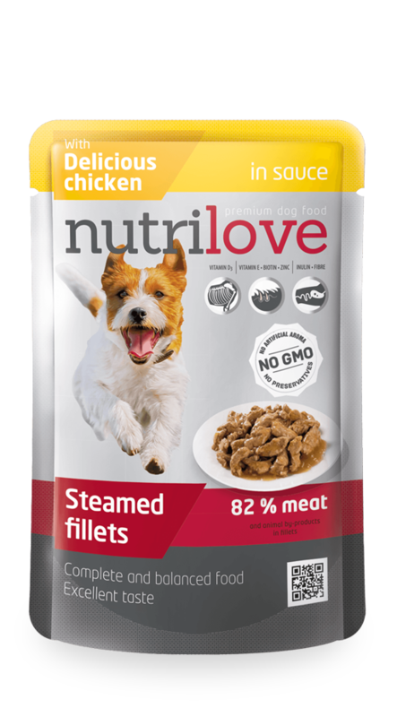 NUTRILOVE mięsne fileciki - gotowane na parze fileciki dla psa 85g