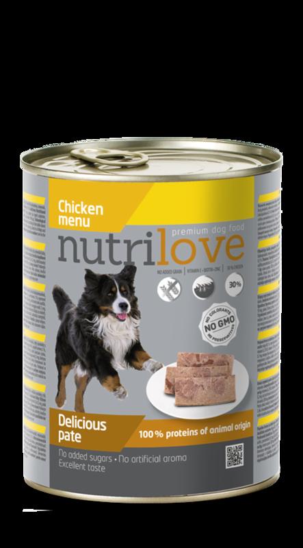 NUTRILOVE danie - mokra pełnowartościowa karma dla psów 800g