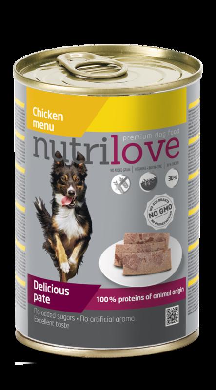 NUTRILOVE danie - mokra pełnowartościowa karma dla psów 400g