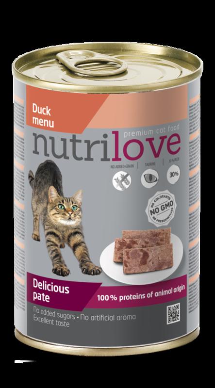 NUTRILOVE danie - mokra pełnoporcjowa karma dla kotów 400g
