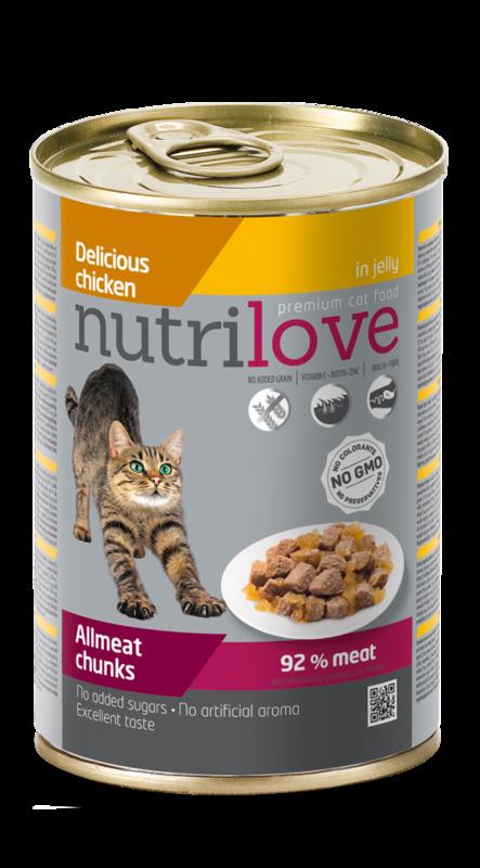 NUTRILOVE mięsne kawałki - pełnowartościowa mokra karma dla kotów 400g
