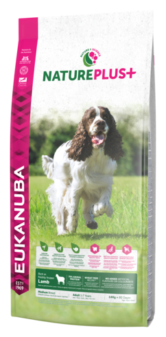 EUKANUBA Natureplus+ Adult medium breed - karma dla psa bogata w świeżo mrożoną jagnięcinę