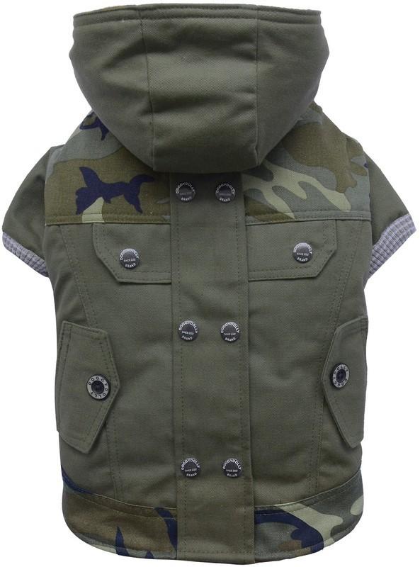 DOGGYDOLLY elegancki płaszcz z kapturem, moro z dla małych psów