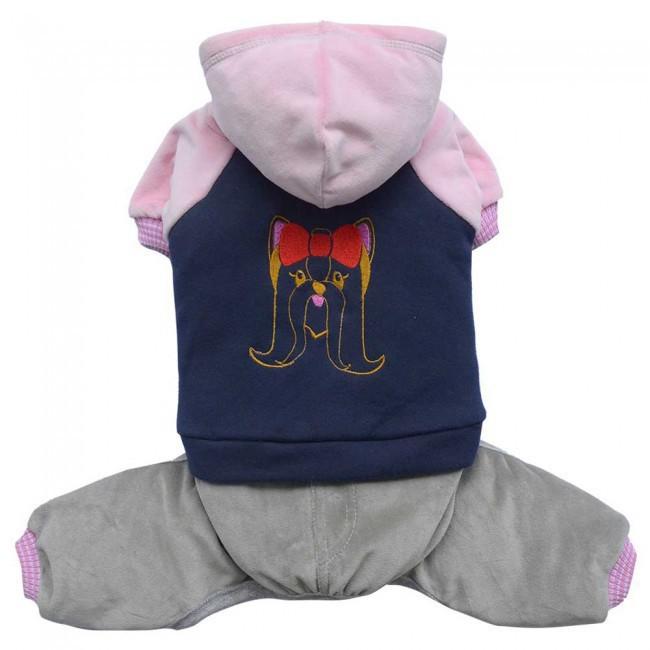 DOGGYDOLLY komplet sportowy z bluzą i kapturem, niebiesko - różowy,  dla małych psów