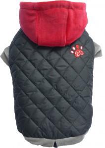 DOGGYDOLLY kurtka pikowana z czerwonym kapturem, czarna - dla małego psa