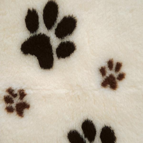 DRY BED Duo Paw białe w brązowe łapki - posłanie dla psów i kotów