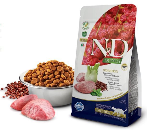 FARMINA N&D Quinoa Digestion Lamb sucha karma dla kotów 300g i 1,5kg