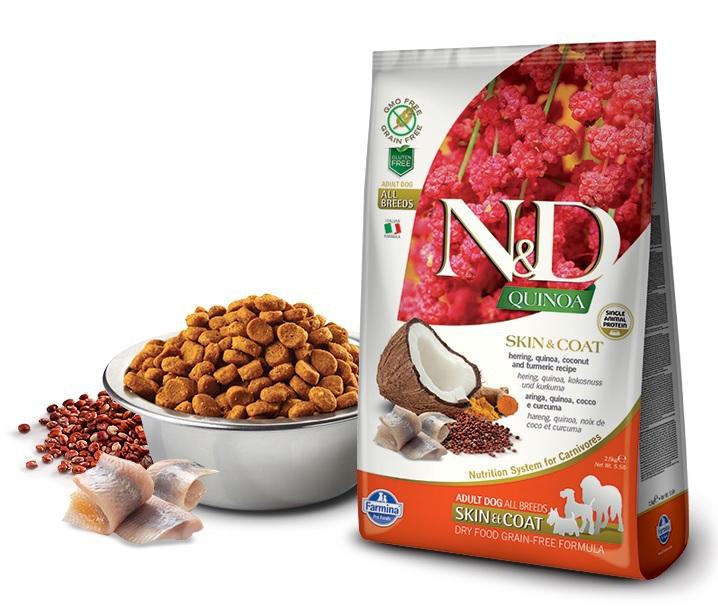 FARMINA N&D Quinoa Skin & Coat Herring śledź, kokos i kurkuma - karma dla psów 800g i 2,5kg
