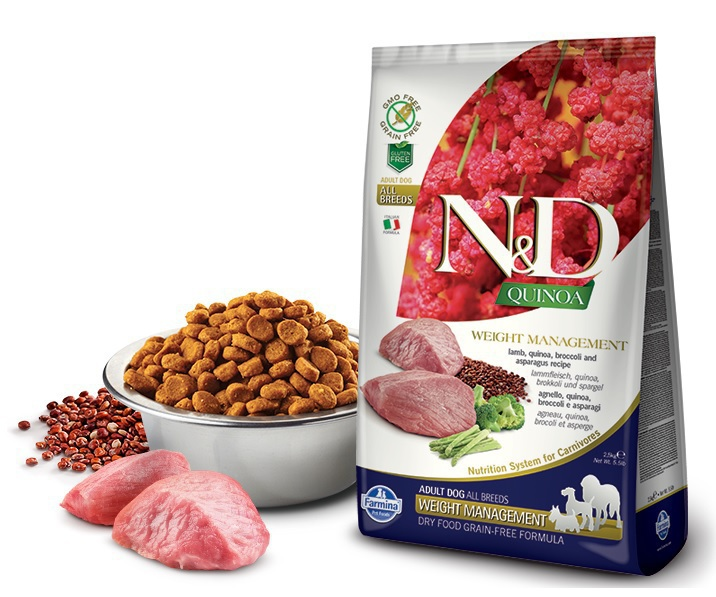 FARMINA N&D Quinoa Weight Management Lamb jagnięcina, brokuł, szparagi - karma dla psów 800g i 2,5kg