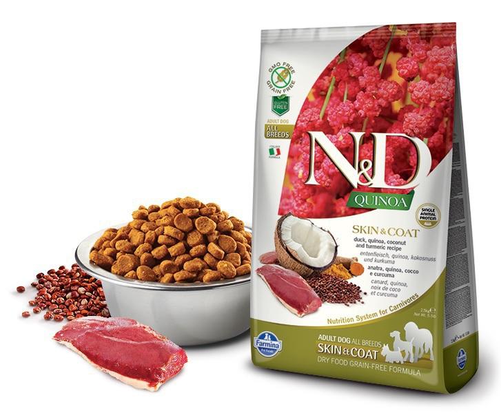 FARMINA N&D Quinoa Skin & Coat Duck kaczka, kokos i kurkuma - karma dla psów 800g i 2,5kg