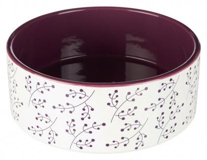 TRIXIE Ceramiczna miska dla psa w kolorze biało-purpurowym