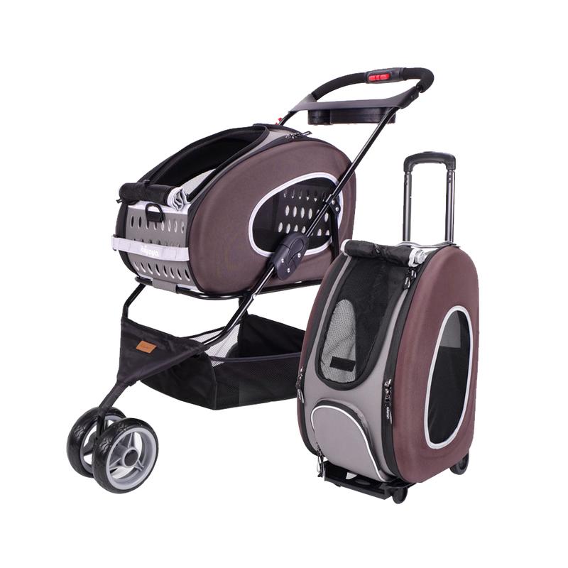 IBIYAYA COMBO EVA Wózek 5w1 brązowy dla małego psa lub kota