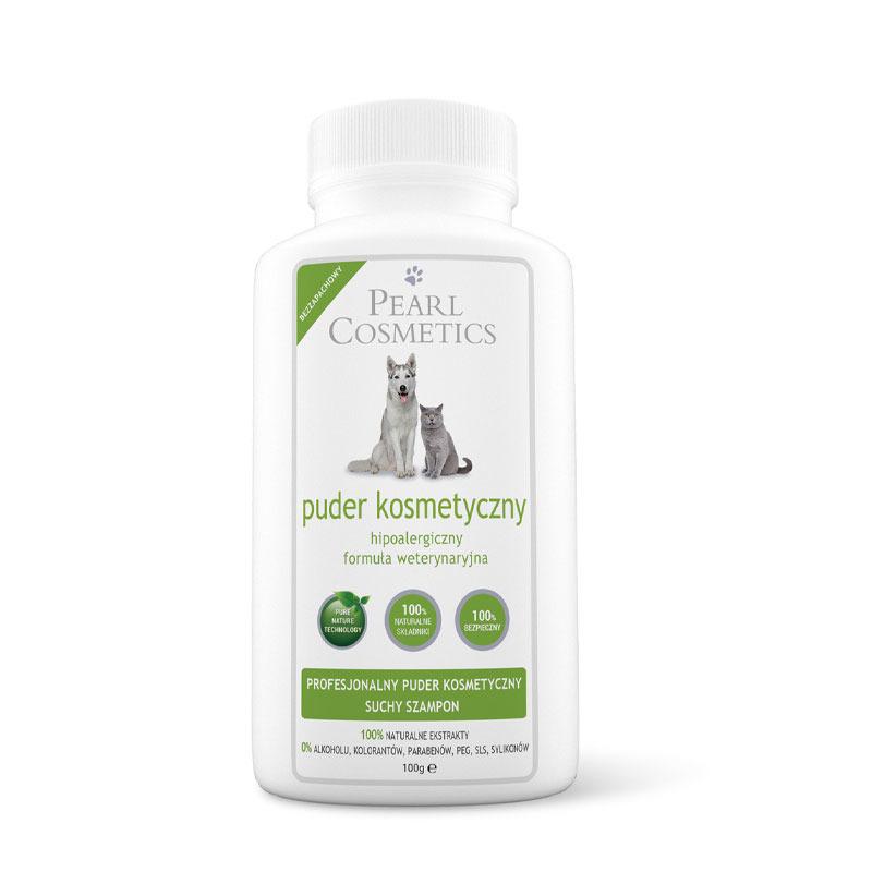 Pearl Cosmetics - puder kosmetyczny i suchy szampon do jasnej sierści, o zapachu drzewa cedrowego i lawendy, 100g
