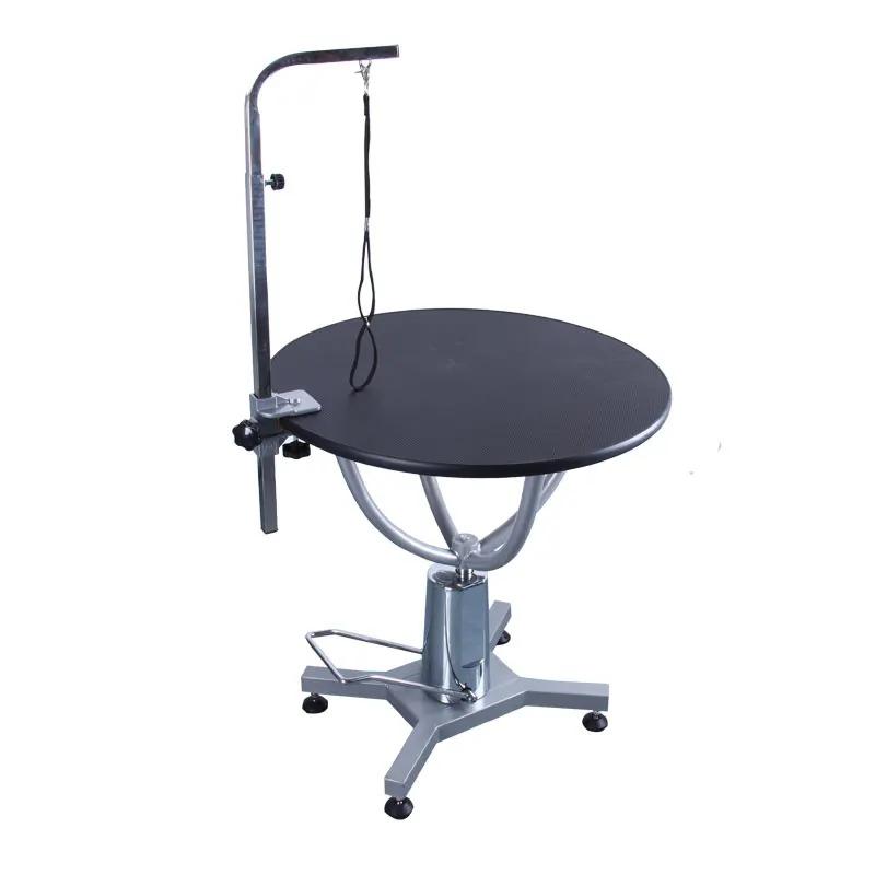 Shernbao - stół z podnośnikiem hydraulicznym, średnica blatu 70 cm, czarny