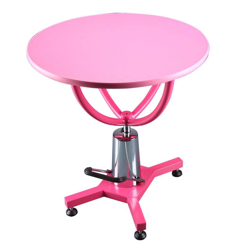 Shernbao - stół z podnośnikiem hydraulicznym, średnica blatu 70 cm, różowy