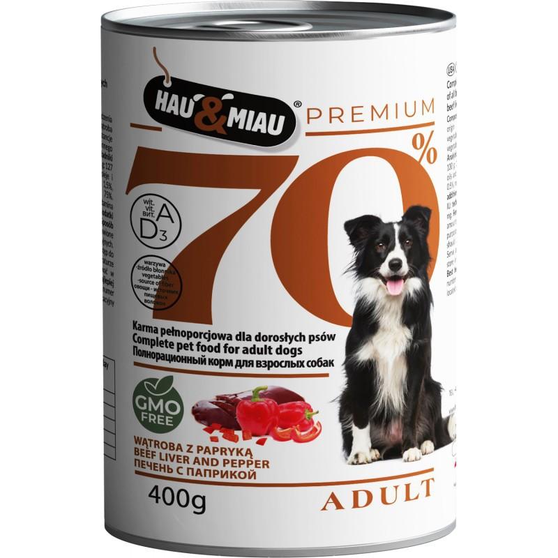 HAU&MIAU 70% Mokra karma dla psa - wątroba, wołowina z papryką 400g