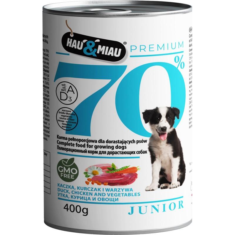 HAU&MIAU 70% Junior Mokra karma dla psa - kaczka, kurczak z warzywami 400g