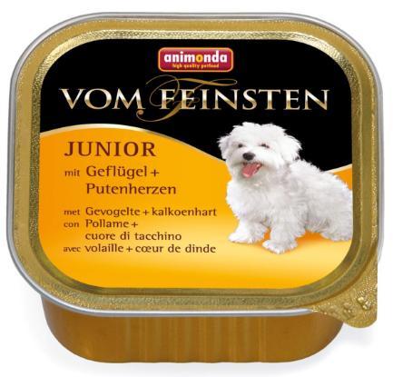 ANIMONDA Vom Feinsten Junior Drób + Serca indycze - mokra karma dla szczeniąt, szalka 150g