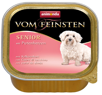 ANIMONDA Vom Feinsten Senior Serca indycze - mokra karma dla starszych psów, szalka 150g